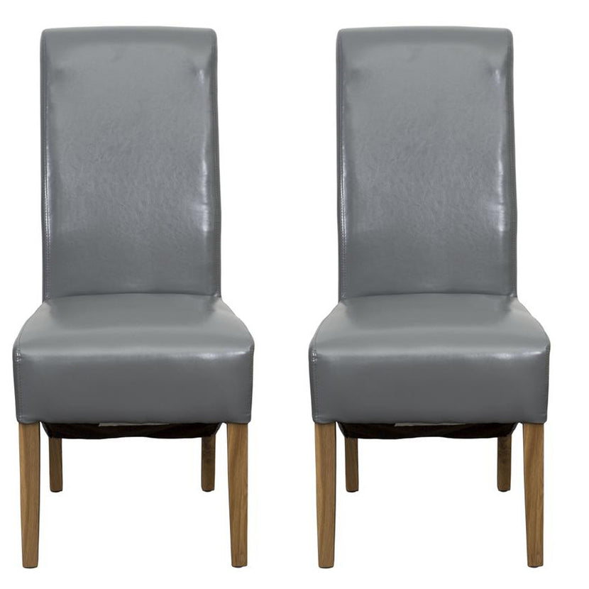 Hudson Dining Chair Grey Bonded Leather (Pair)