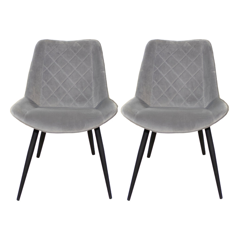 Byron Diamond Dining Chair Grey (Pair)