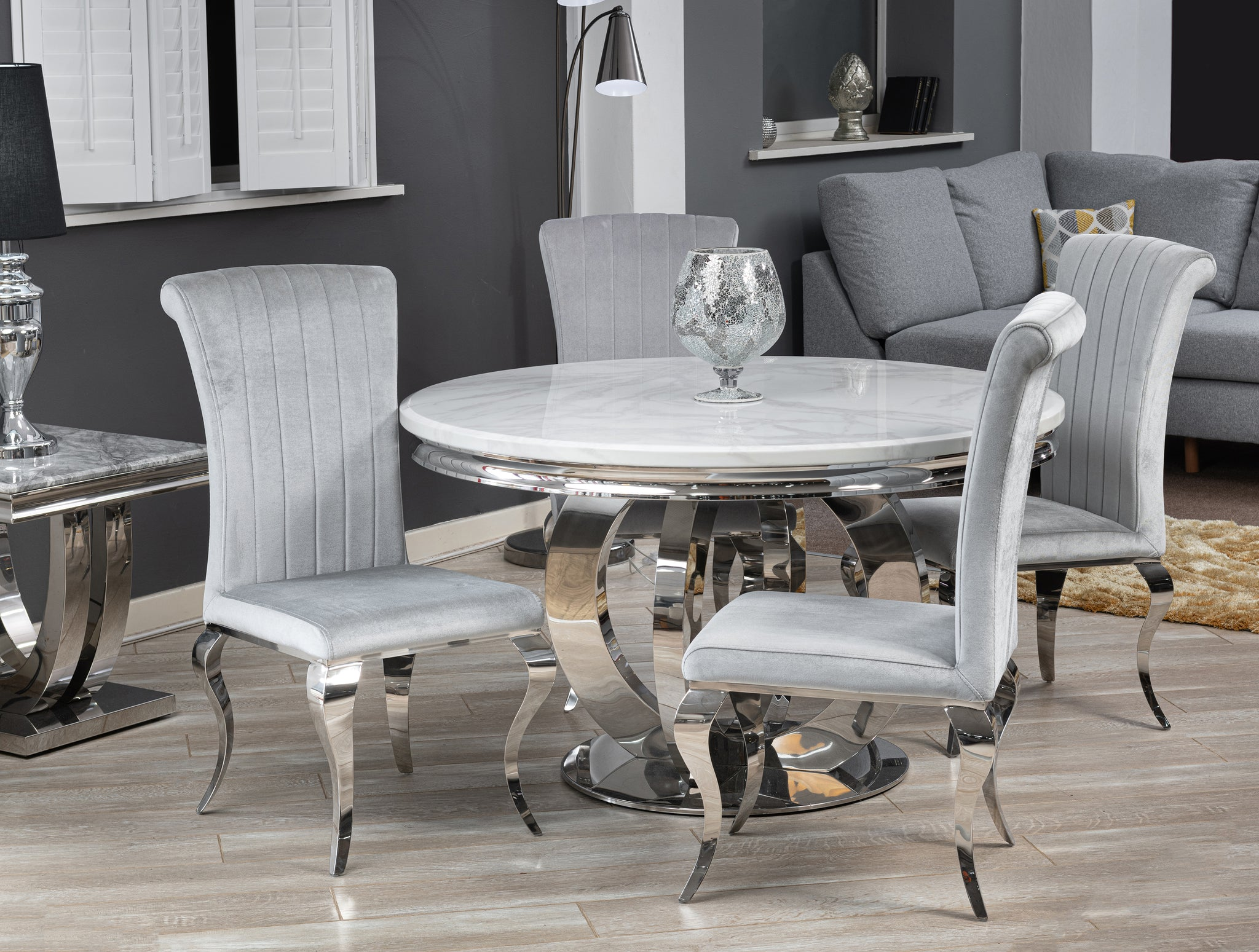 Nicole Dining Chair Silver (PAIR)