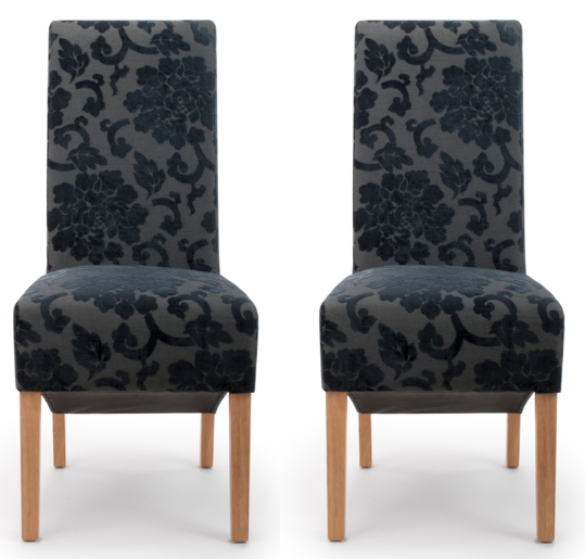 Hudson Dining Chair Baroque Charcoal (Pair)