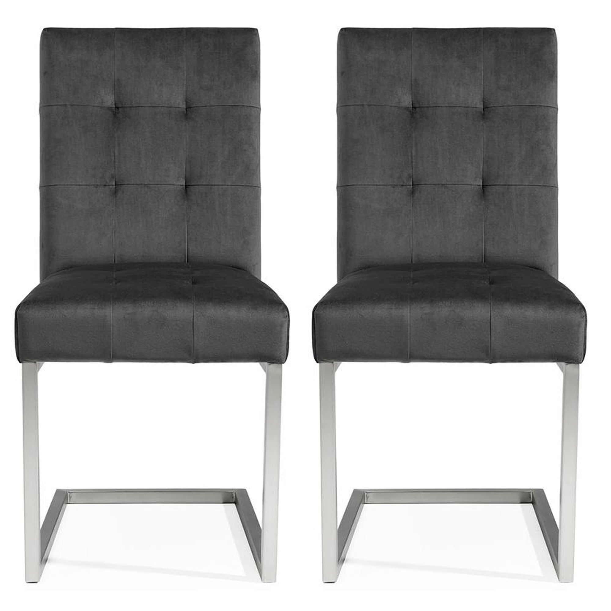 Toulouse Upholstered Cantilever Chair Gun Metal (Pair)