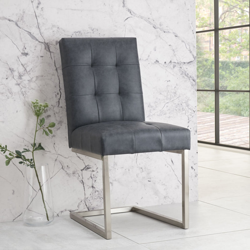 Toulouse Upholstered Cantilever Chair Mottled Black (Pair)