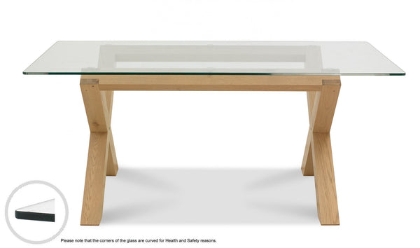 Tuscany Light Oak 6 Seater Glass Top Table