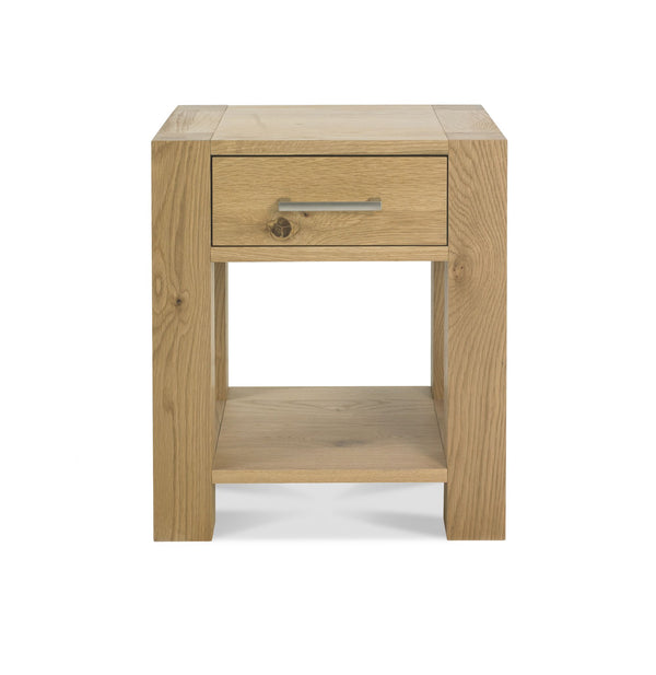 Turin Light Oak Lamp Table with Drawer