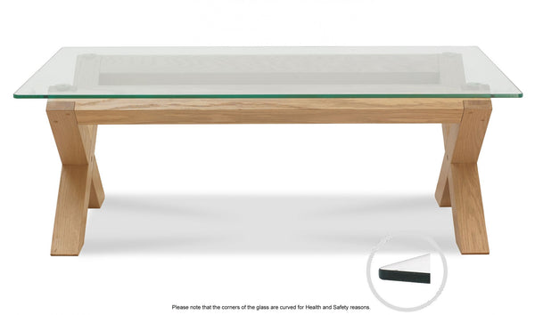 Turin Light Oak Glass Top Coffee Table