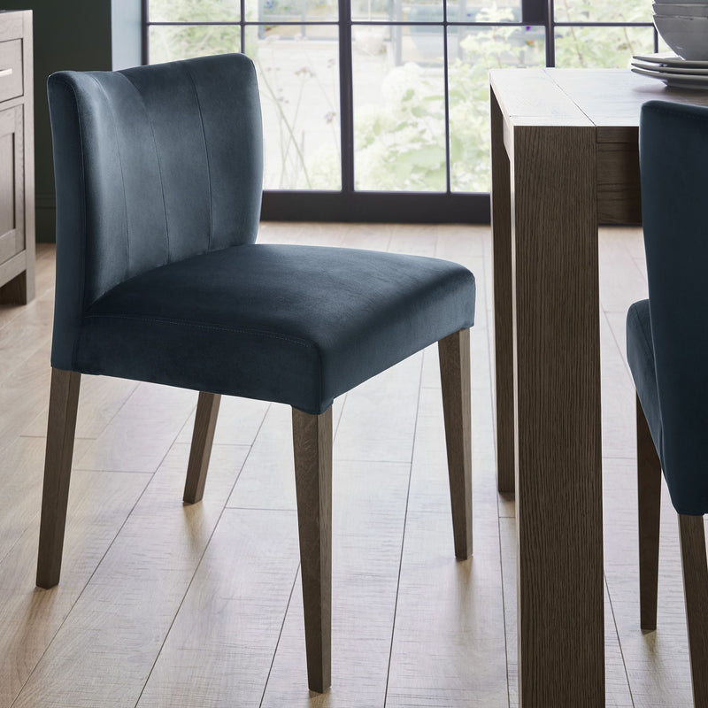 Tuscany Dark Oak Low Back Chair Dark Blue (Pair)