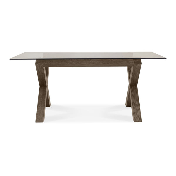 Tuscany Dark Oak 6 Seater Glass Top Dining Table