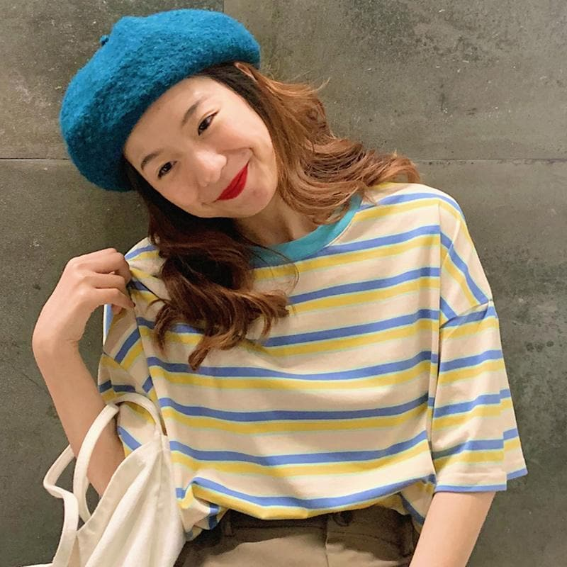 Oversized Tee with Stripes - authentic Asian fashion from Korea, Japan and China.