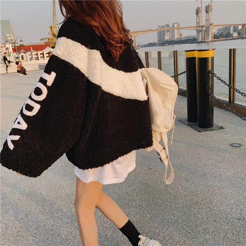 "Oversized Teddy Zipped Sweater/Jacket ""TODAY"" - authentic Asian fashion from Korea, Japan and China."