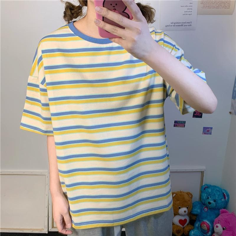 Striped Pastel Tee Oversized Fit - authentic Asian fashion from Korea, Japan and China.