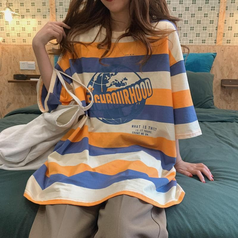 Striped Short-sleeved T-shirt Women's 2020 Loose Korean Style Ins Tide Super Fire bf Harajuku Port Style Half Sleeve Top Dress