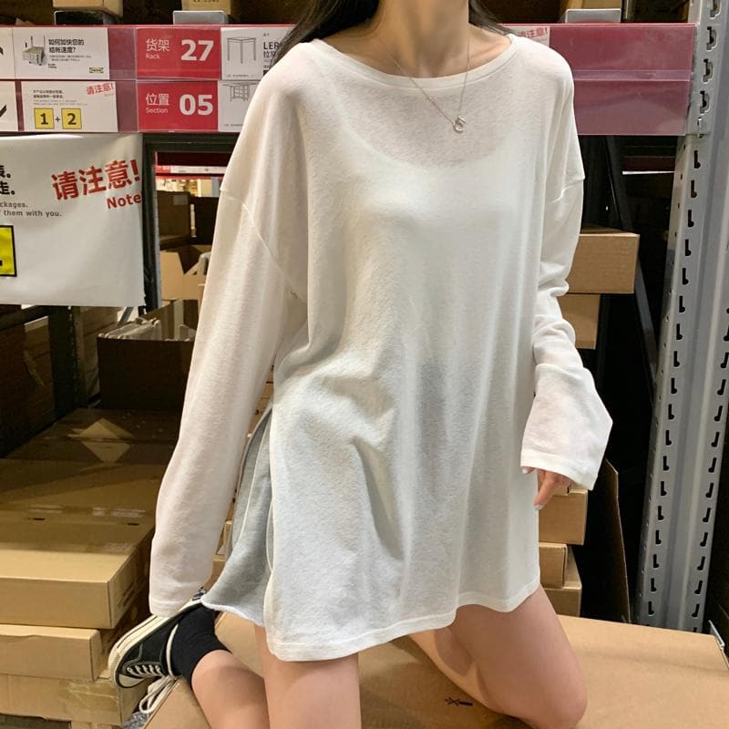 Oversized See-Through Longsleeve Shirt - authentic Asian fashion from Korea, Japan and China.