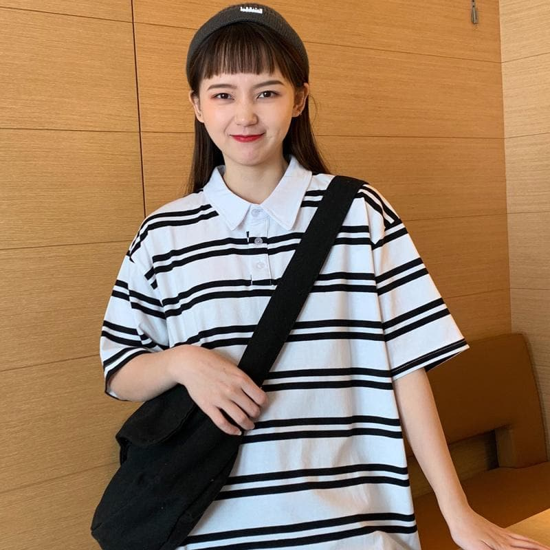 Collared T-Shirt with Stripes - authentic Asian fashion from Korea, Japan and China.