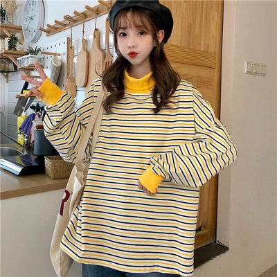 Striped Oversized Turtleneck - authentic Asian fashion from Korea, Japan and China.