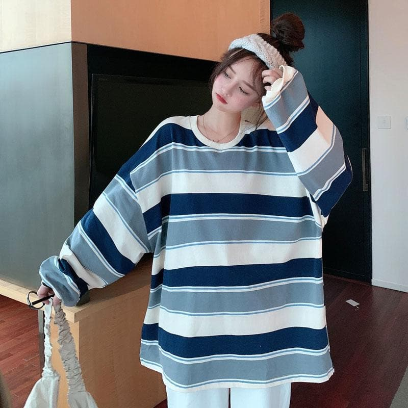 Oversized Striped Longsleeve Tee - authentic Asian fashion from Korea, Japan and China.