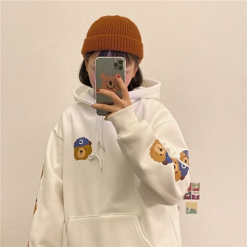 Hoodie with Teddy Head Print - authentic Asian fashion from Korea, Japan and China.