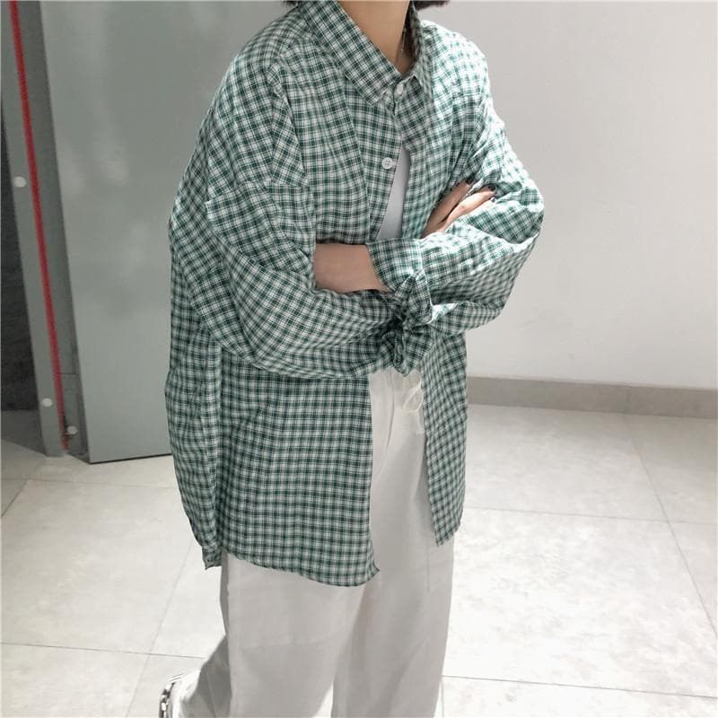 Plaid Shirt with Long Sleeves - authentic Asian fashion from Korea, Japan and China.