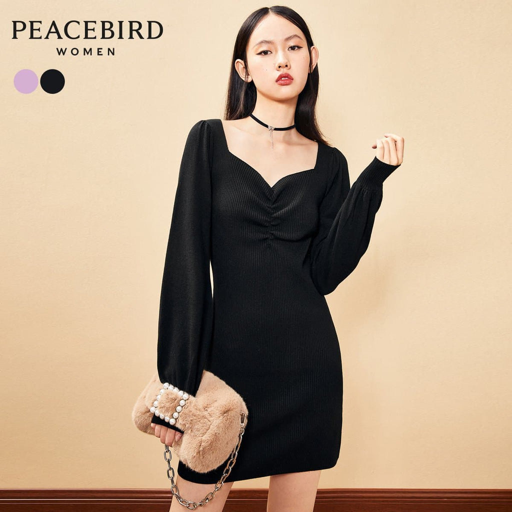 PEACEBIRD Black Square Collar Waist Pleated Dress Women 2020 Autumn and Winter New French Retro Slim Skirt