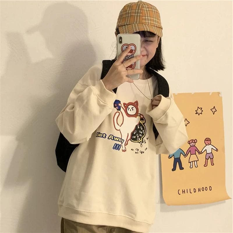 "Longsleeve Shirt with ""Get Away!!"" Cartoon Print - authentic Asian fashion from Korea, Japan and China."