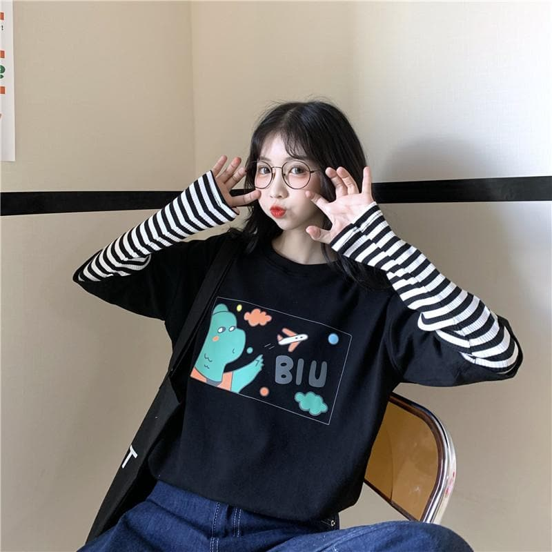 "2-in-1 White ""BIU"" Tee + Striped Longsleeve Shirt - authentic Asian fashion from Korea, Japan and China."