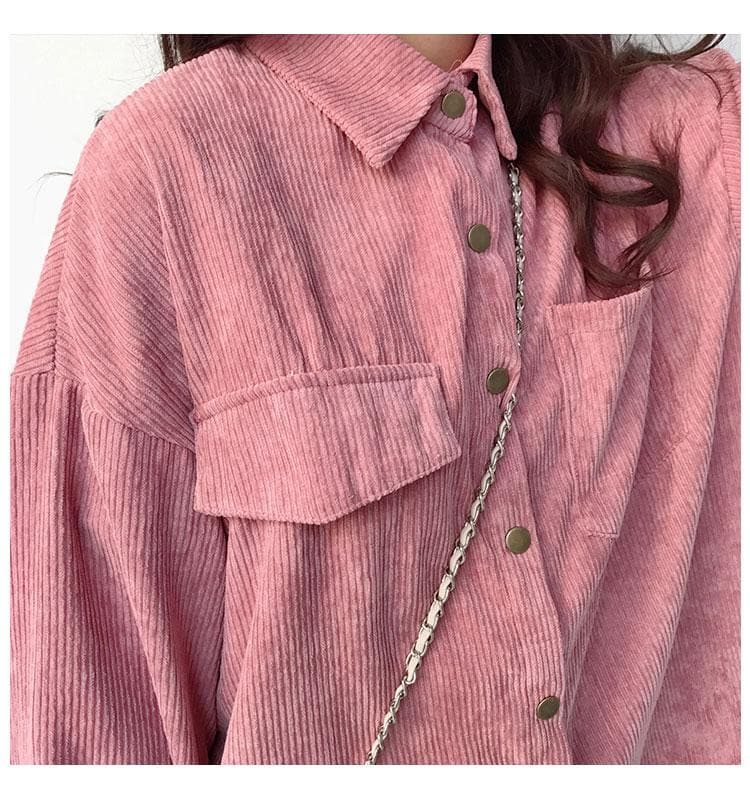 Corduroy Jacket With Pockets - authentic Asian fashion from Korea, Japan and China.