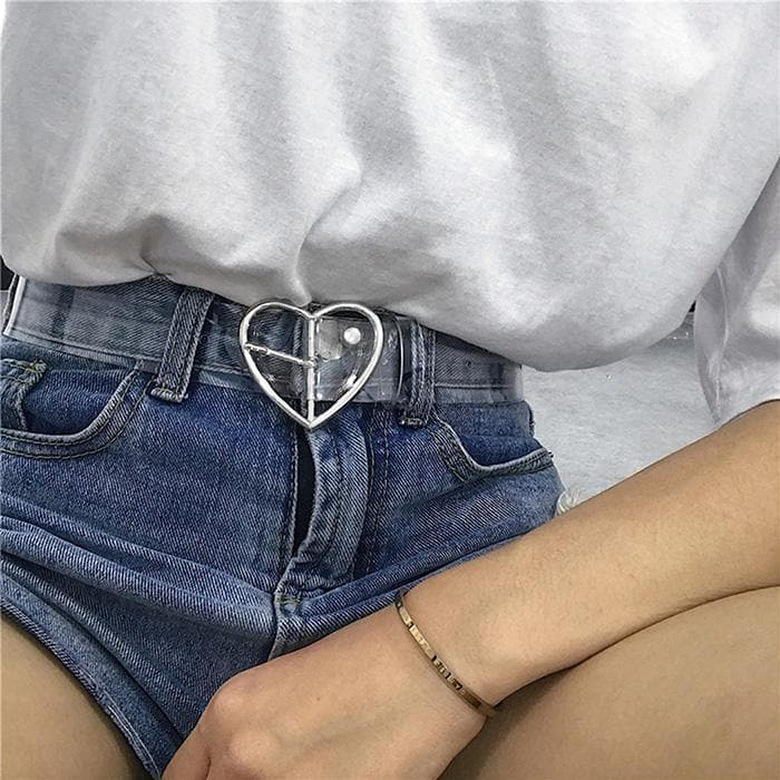 Transparent Belt with Heart Buckle - authentic Asian fashion from Korea, Japan and China.