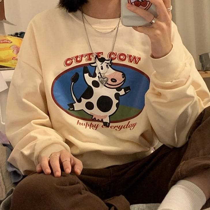 """CUTE COW happy everyday"" Short Longsleeve Shirt - authentic Asian fashion from Korea, Japan and China."