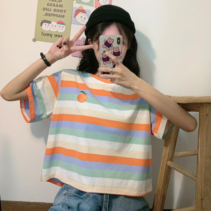 Striped Short-sleeved T-shirt Female Ins 2020 Loose Korean Harajuku bf Hyuna Top