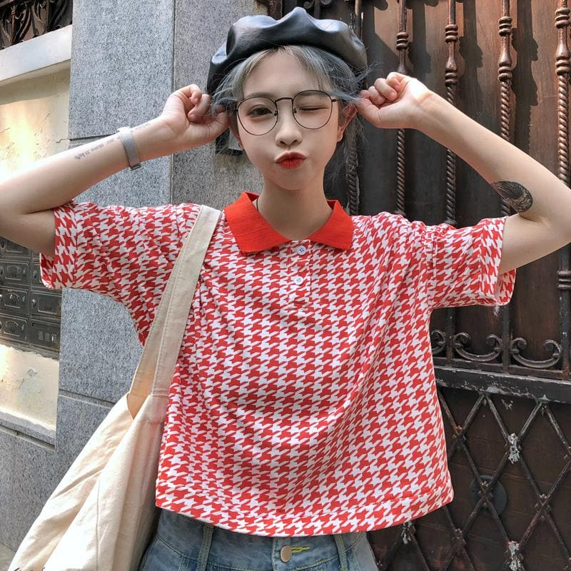 Plaid Tee with Collar and Buttons - authentic Asian fashion from Korea, Japan and China.