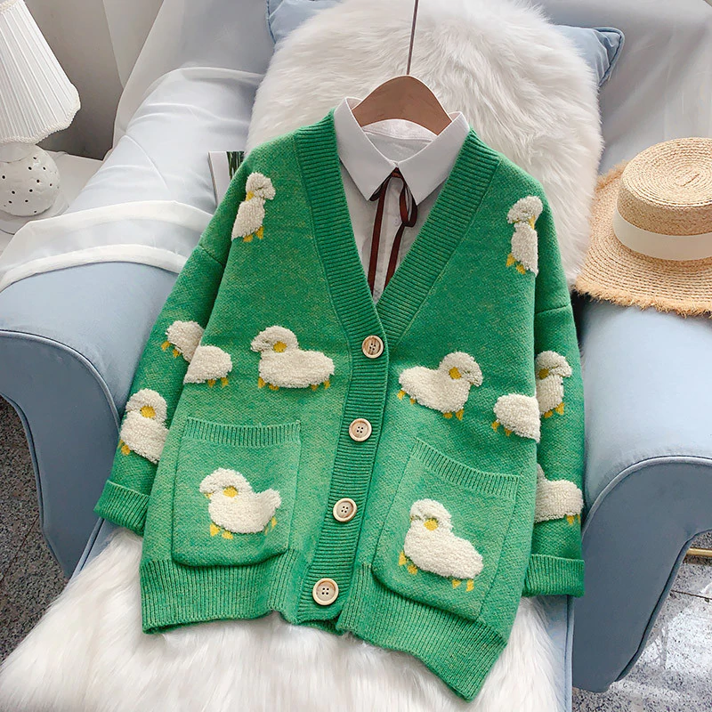 Knit Sheep Cardigan - authentic Asian fashion from Korea, Japan and China.
