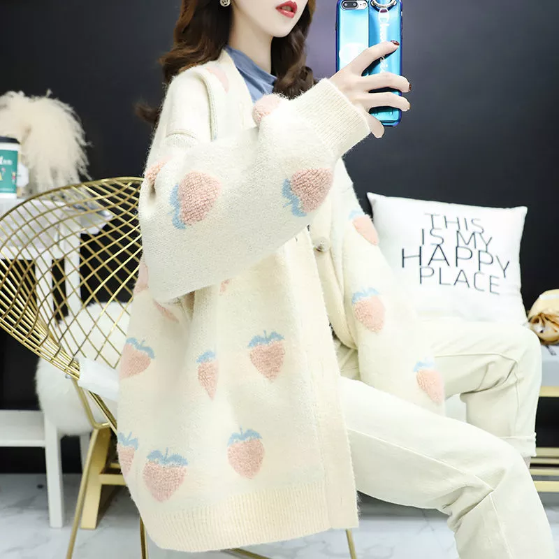 Cardigan with Fruit Pattern - authentic Asian fashion from Korea, Japan and China.