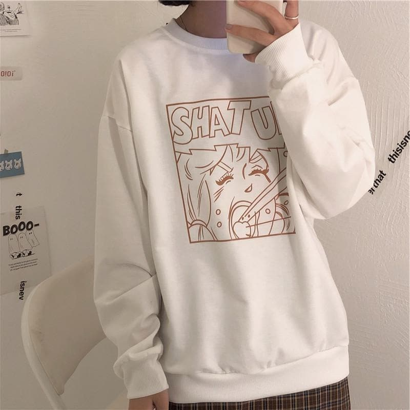 """SHAT UP"" Roundneck Sweater - authentic Asian fashion from Korea, Japan and China."