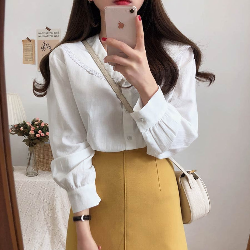 Blouse with Sailor Collar - authentic Asian fashion from Korea, Japan and China.