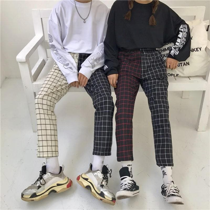 Plaid Patchwork High Waist Pants - authentic Asian fashion from Korea, Japan and China.