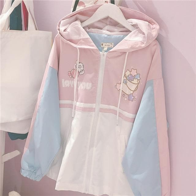 """LOVE YOU"" Pastel Zipper Jacket - authentic Asian fashion from Korea, Japan and China."