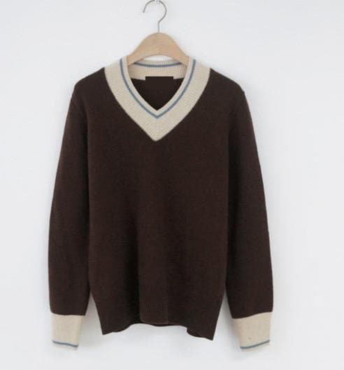 Knit V-Neck Sweater - authentic Asian fashion from Korea, Japan and China.