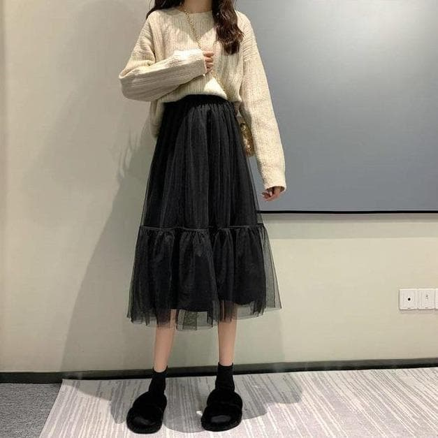Midi High-Waist Tulle Skirt
