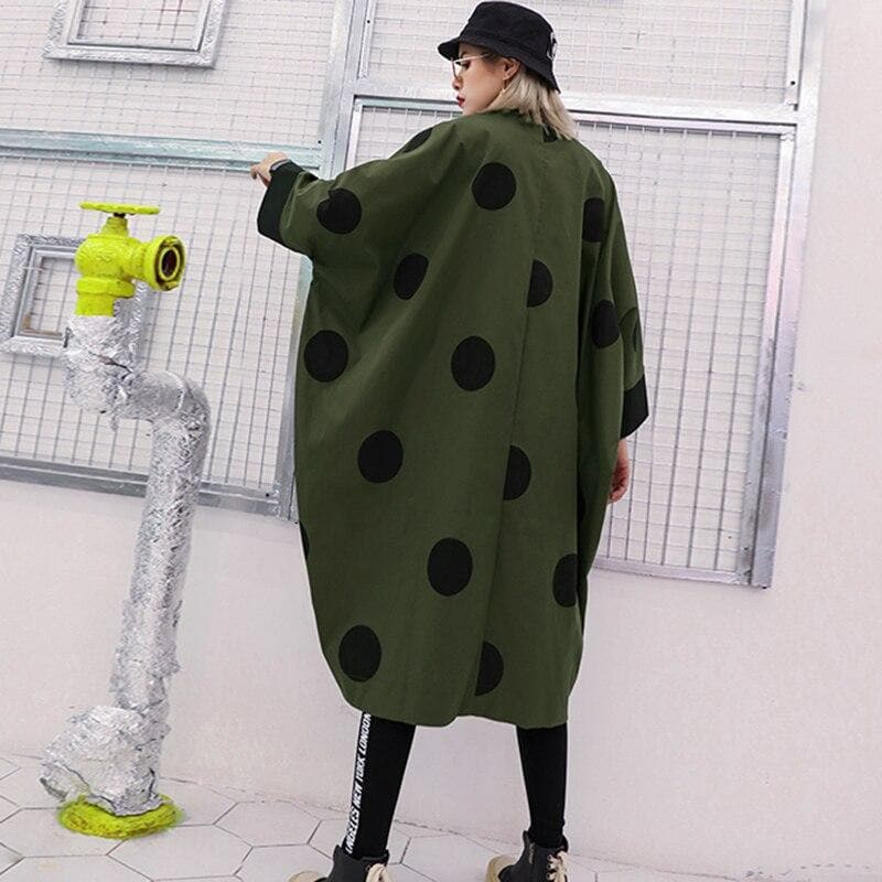 Oversized Coat with Dots - authentic Asian fashion from Korea, Japan and China.
