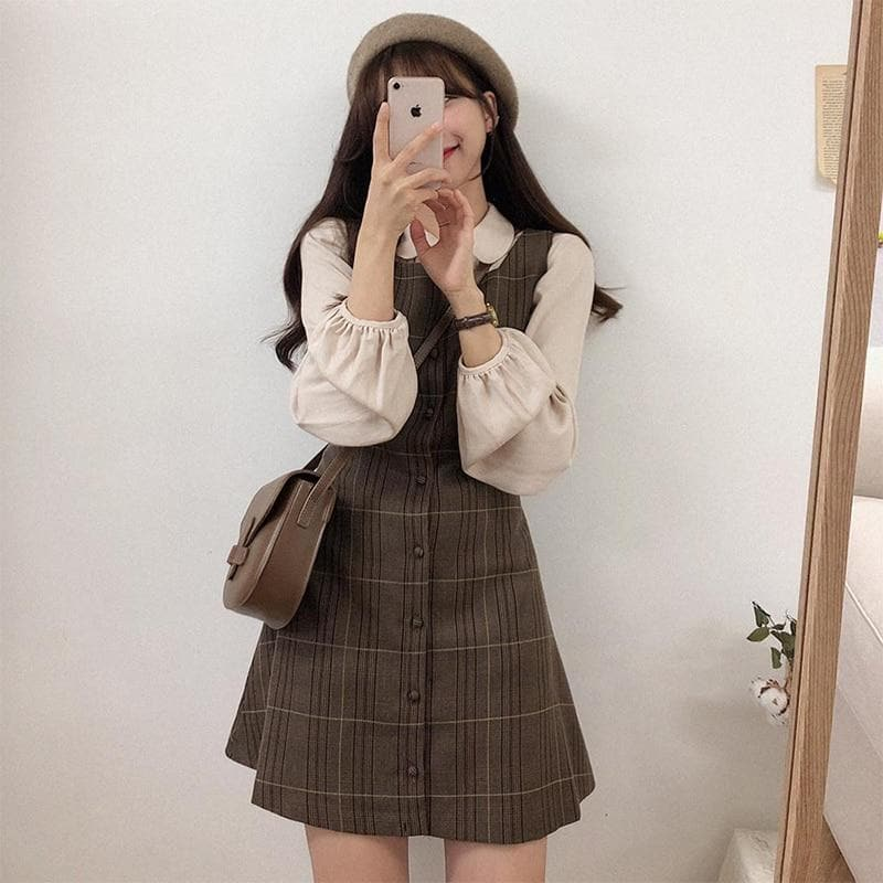 Sleeveless Plaid Dress - authentic Asian fashion from Korea, Japan and China.