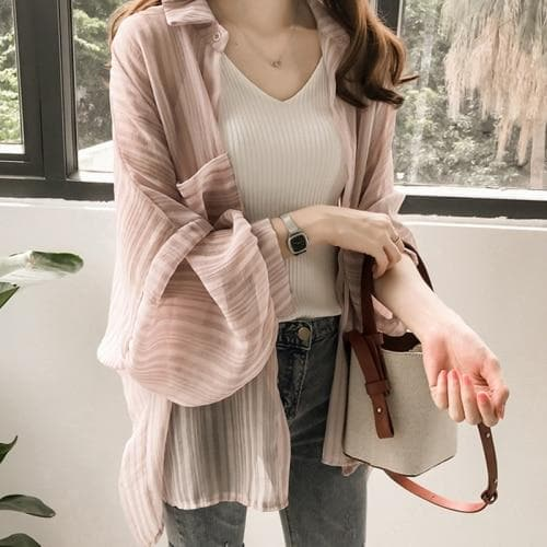 Chiffon Blouse (Striped + Solid Color) - authentic Asian fashion from Korea, Japan and China.