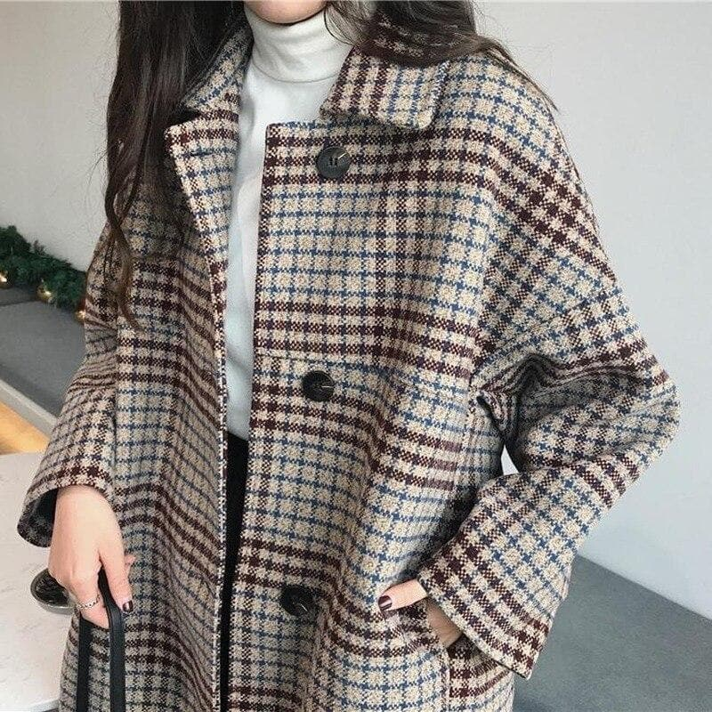 Oversized Plaid Coat - authentic Asian fashion from Korea, Japan and China.