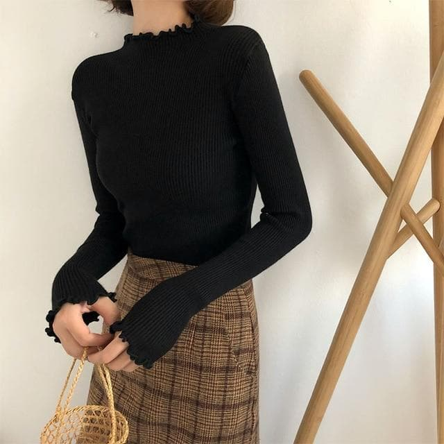Stretchy Turtleneck Sweater with Frilled Detail - authentic Asian fashion from Korea, Japan and China.