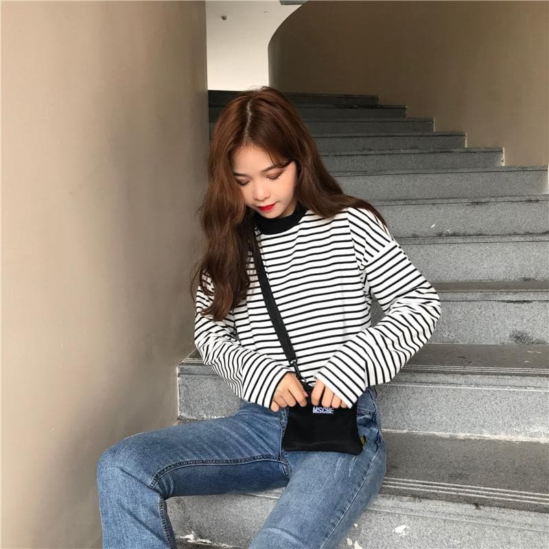 Striped Longsleeve Shirt - authentic Asian fashion from Korea, Japan and China.