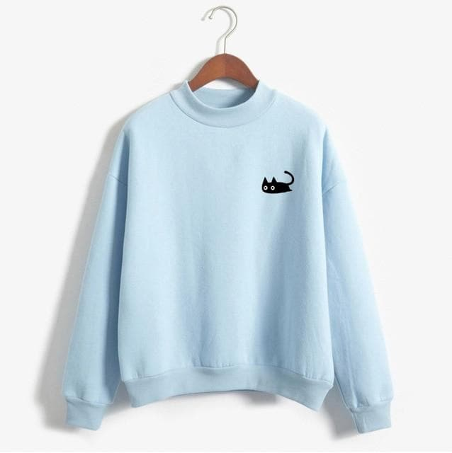 Basic Pullover with Cat Print - authentic Asian fashion from Korea, Japan and China.