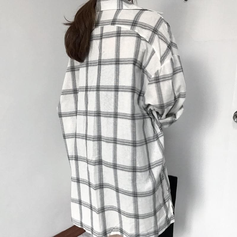 Plaid Long Shirt - authentic Asian fashion from Korea, Japan and China.