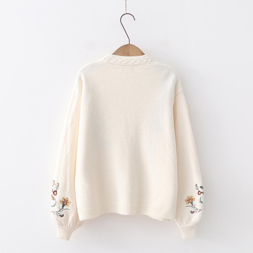 Lantern Sleeve Cardigan with Floral Embroidery - authentic Asian fashion from Korea, Japan and China.