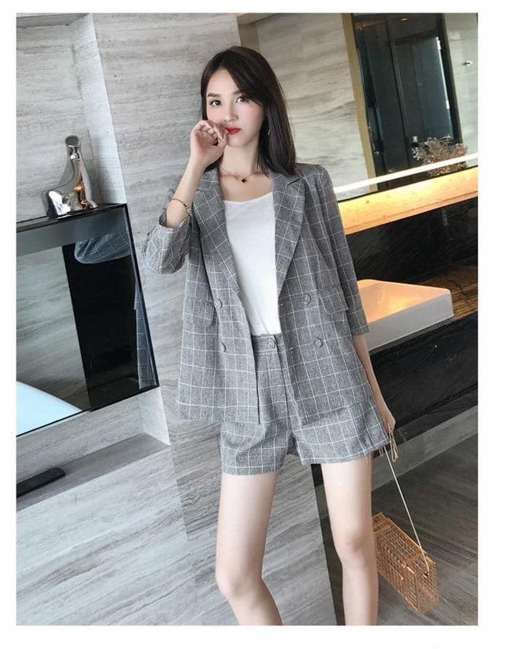 Elegant Plaid Two-Piece-Set (Blazer + Shorts) (S-4XL!) - authentic Asian fashion from Korea, Japan and China.