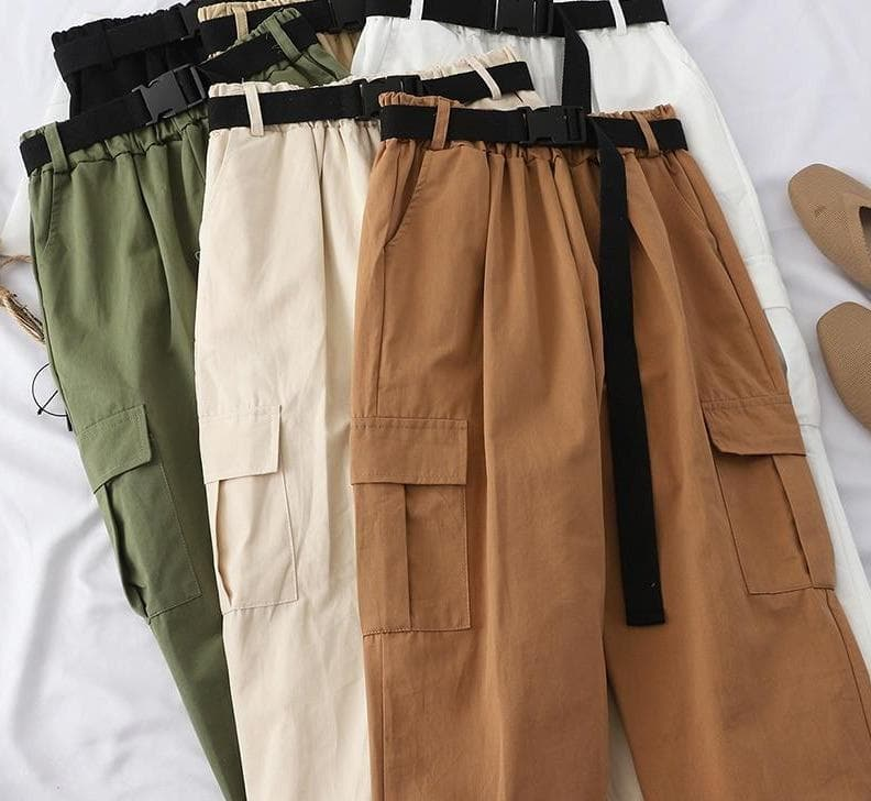 High Waist Cargo Pants with Belt - authentic Asian fashion from Korea, Japan and China.