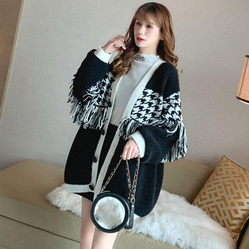 Patchwork Cardigan with Tassels - authentic Asian fashion from Korea, Japan and China.