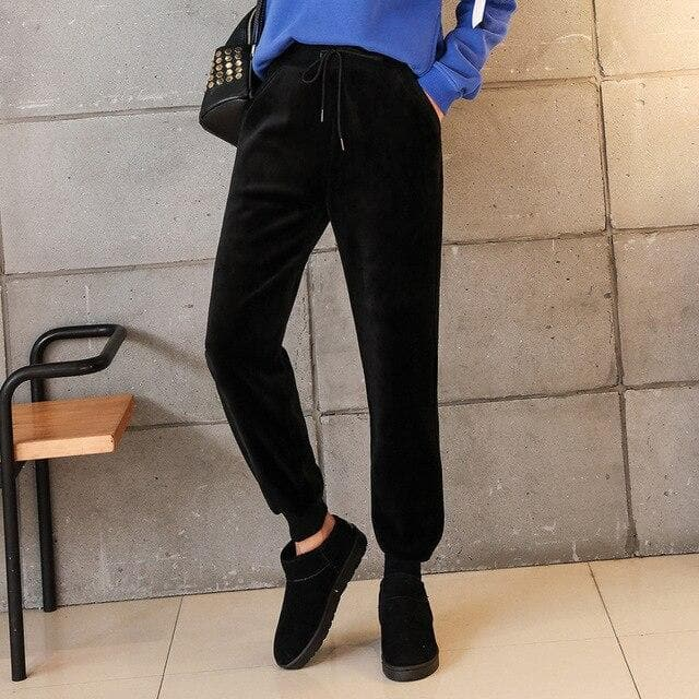 Velvet Leisure Pants - authentic Asian fashion from Korea, Japan and China.